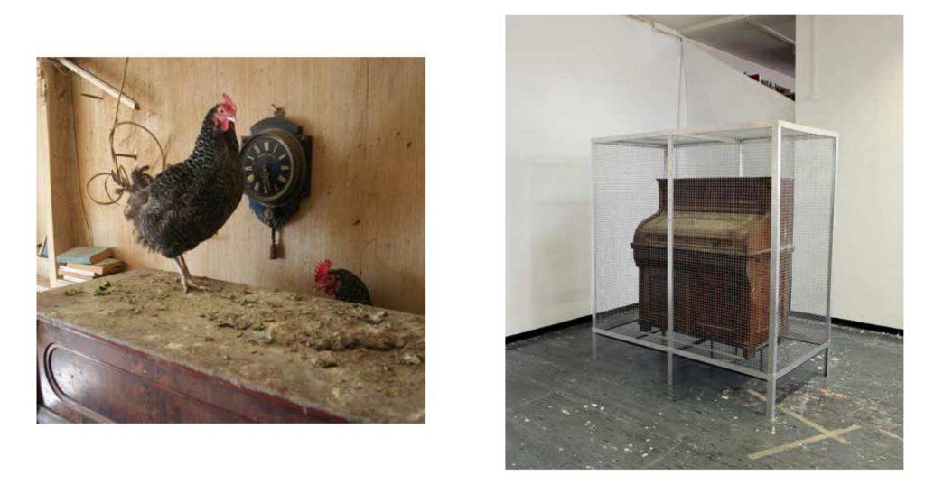 links: Foto Biedermeiersekrätär und Hühner rechts: Sekrätär, Diplomarbeit 2013
